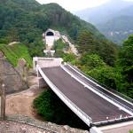 二車線の付け替え国道