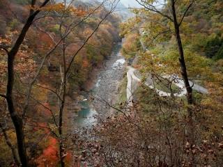 吾妻渓谷のダムサイト予定地 見晴台からの眺望 2013年11月9日