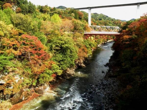 千歳橋と鉄橋と湖面橋とグリーンタフshuku