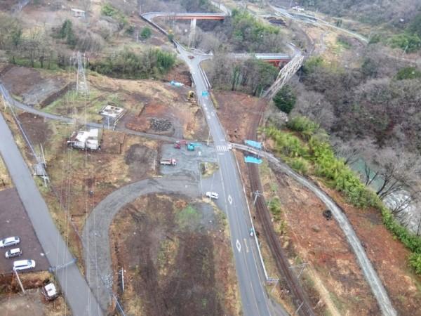 下湯原の旧国道と迂回路s