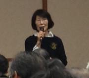 千葉の会代表として報告する中村春子さん