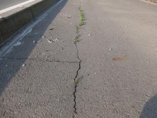 県道のひび割れと補修