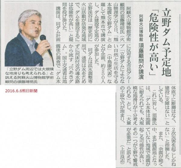2016.6.6「熊本地震と立野ダム」記事