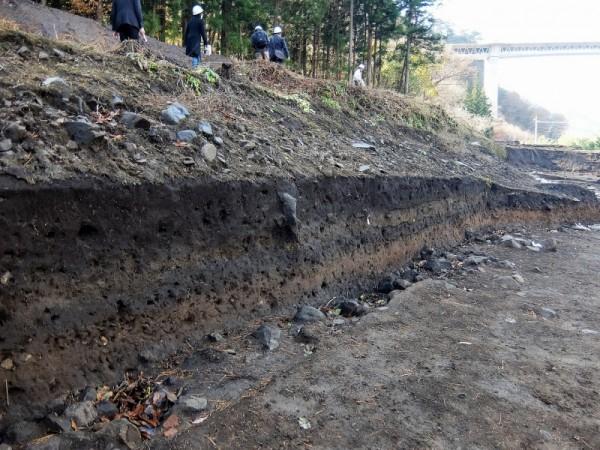 縄文遺跡の脇の地層