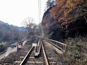 白糸の滝の脇の線路